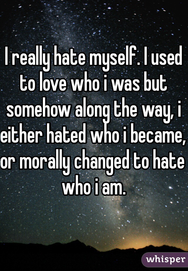 I really hate myself. I used to love who i was but somehow along the way, i either hated who i became, or morally changed to hate who i am.