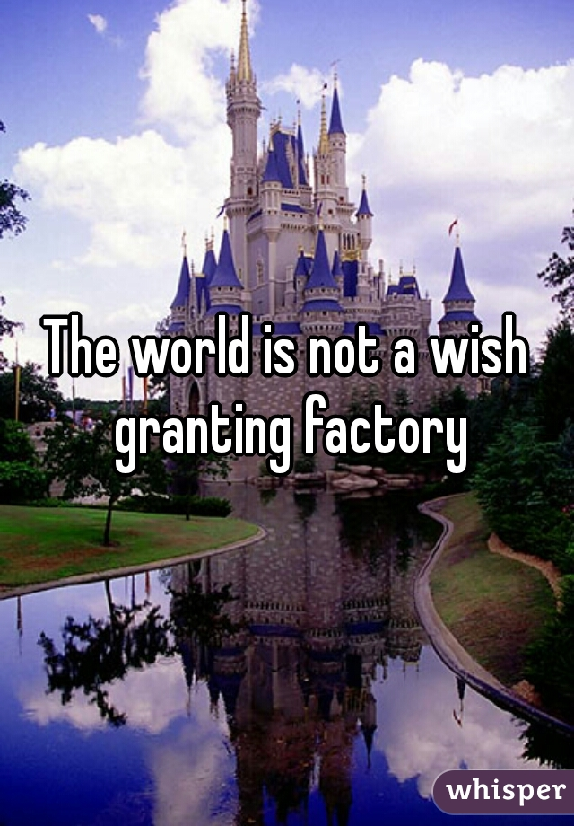 The world is not a wish granting factory