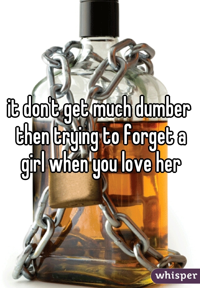 it don't get much dumber then trying to forget a girl when you love her