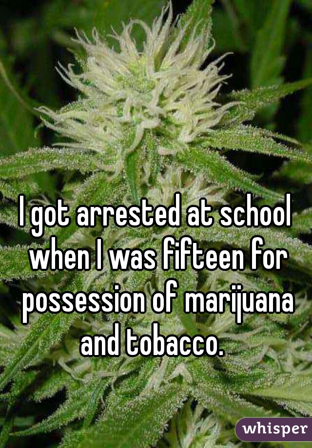 I got arrested at school when I was fifteen for possession of marijuana and tobacco.