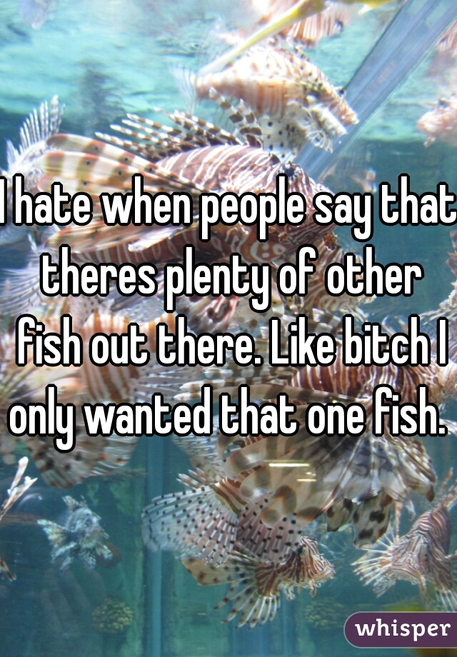 I hate when people say that theres plenty of other fish out there. Like bitch I only wanted that one fish.