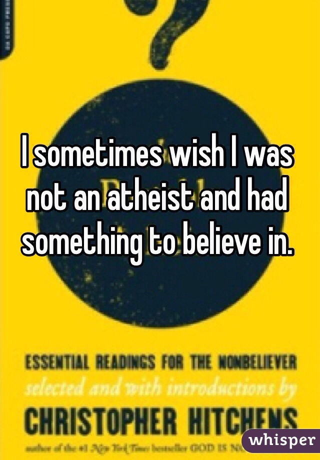I sometimes wish I was not an atheist and had something to believe in.