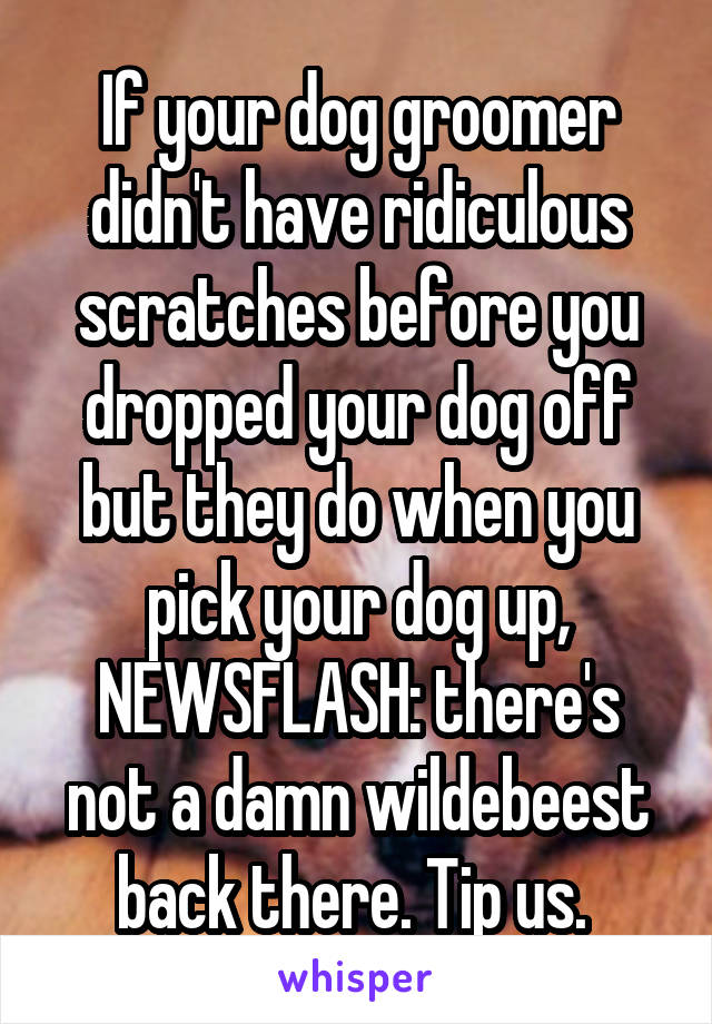 If your dog groomer didn't have ridiculous scratches before you dropped your dog off but they do when you pick your dog up, NEWSFLASH: there's not a damn wildebeest back there. Tip us.