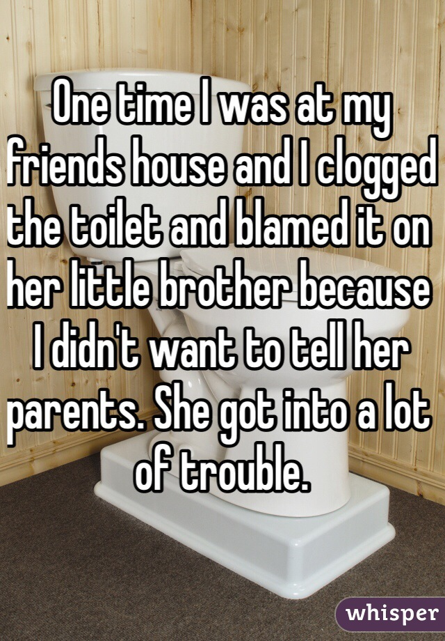 One time I was at my friends house and I clogged the toilet and blamed it on her little brother because I didn't want to tell her parents. She got into a lot of trouble.