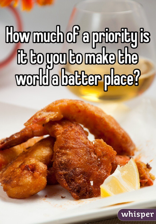 How much of a priority is it to you to make the world a batter place?
