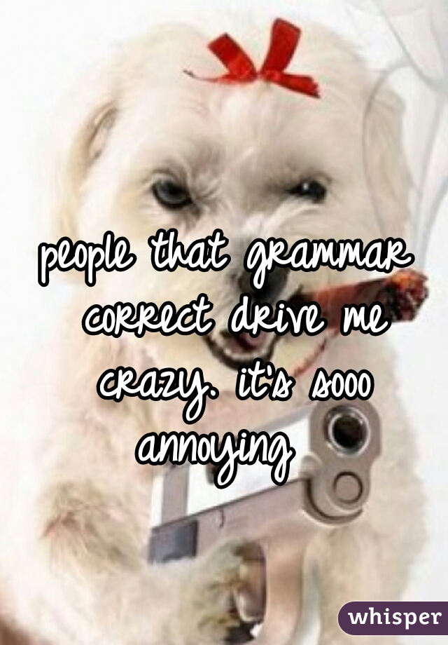 people that grammar correct drive me crazy. it's sooo annoying