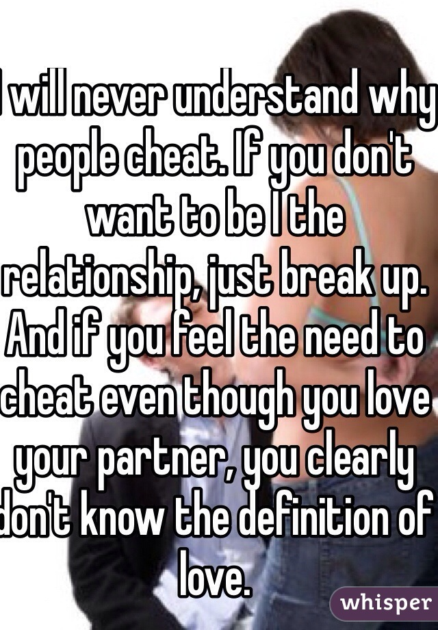 I will never understand why people cheat. If you don't want to be I the relationship, just break up. And if you feel the need to cheat even though you love your partner, you clearly don't know the definition of love.
