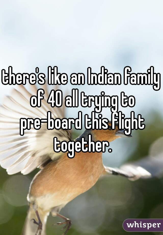 there's like an Indian family of 40 all trying to pre-board this flight together.