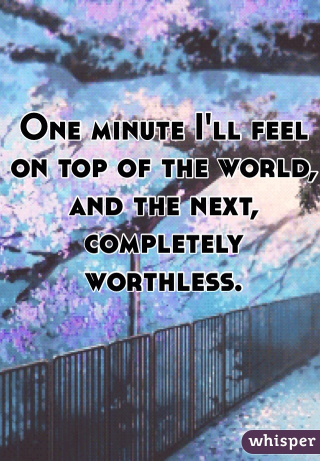 One minute I'll feel on top of the world, and the next, completely worthless.
