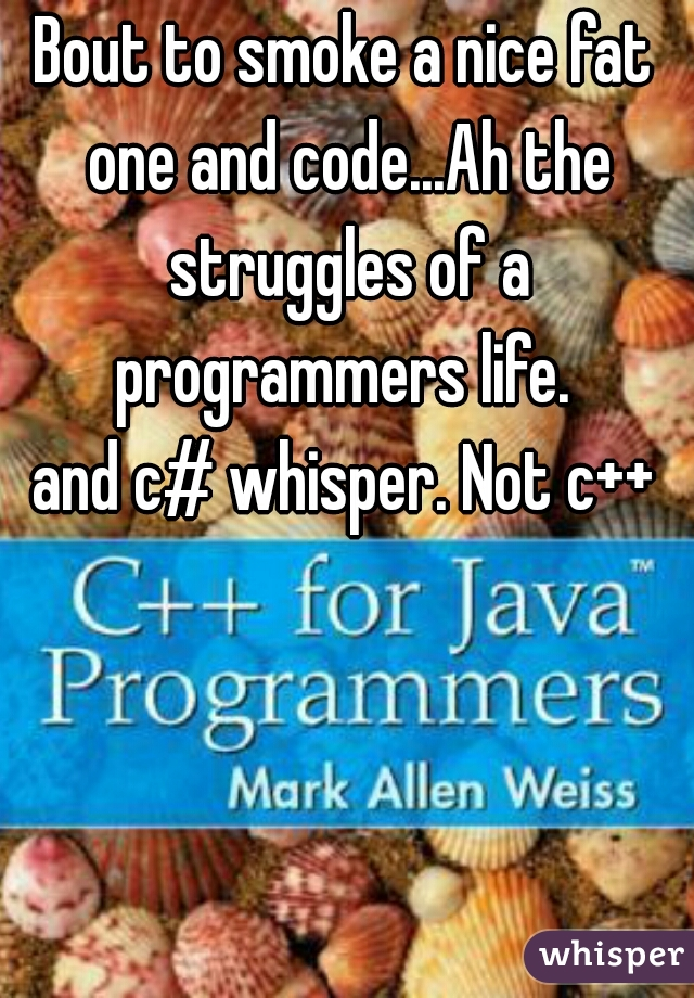 Bout to smoke a nice fat one and code...Ah the struggles of a programmers life.   and c# whisper. Not c++