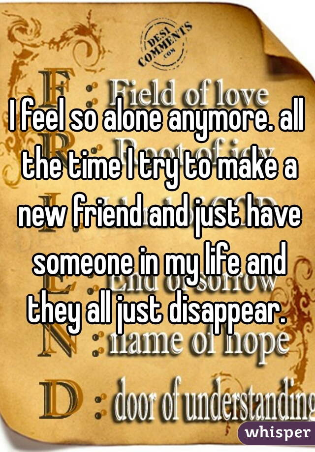I feel so alone anymore. all the time I try to make a new friend and just have someone in my life and they all just disappear.