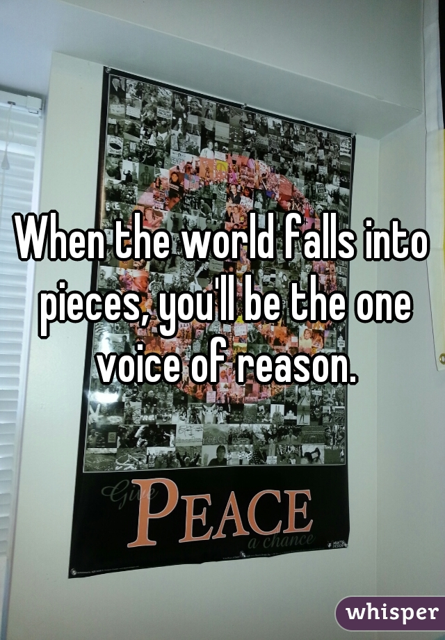 When the world falls into pieces, you'll be the one voice of reason.