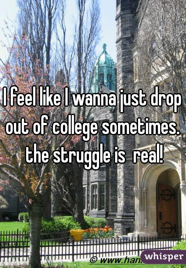 I feel like I wanna just drop out of college sometimes.  the struggle is  real!