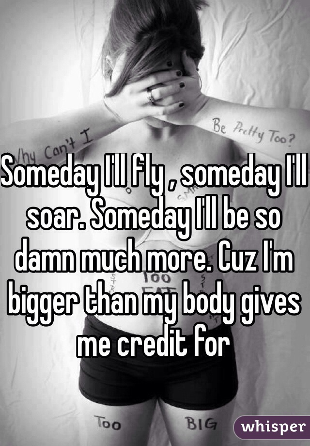 Someday I'll fly , someday I'll soar. Someday I'll be so damn much more. Cuz I'm bigger than my body gives me credit for