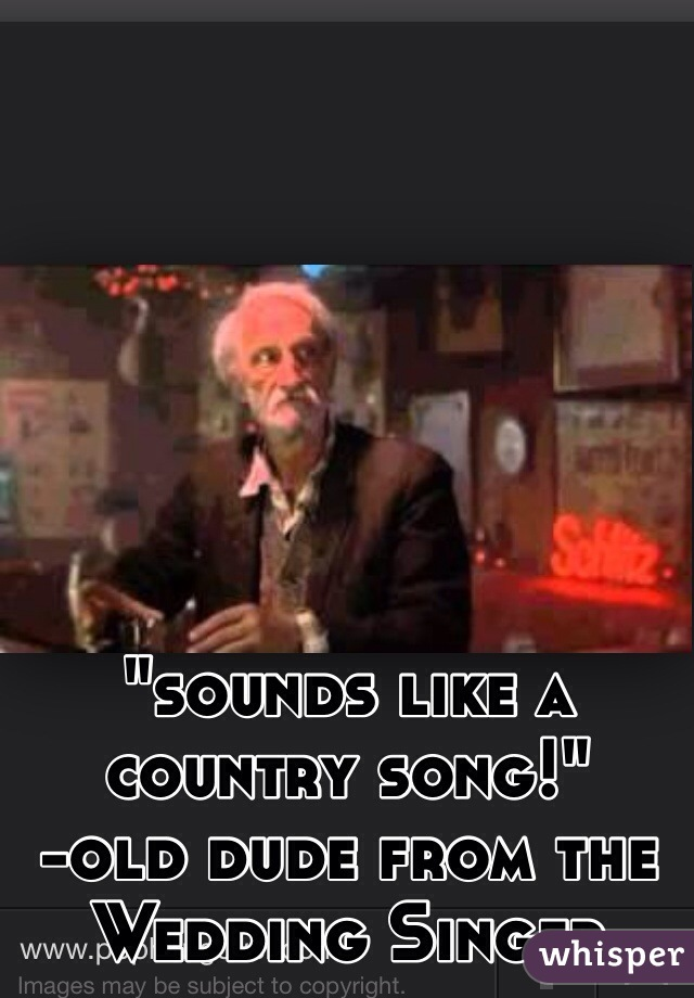 Wedding Singer Song.Sounds Like A Country Song Old Dude From The Wedding Singer