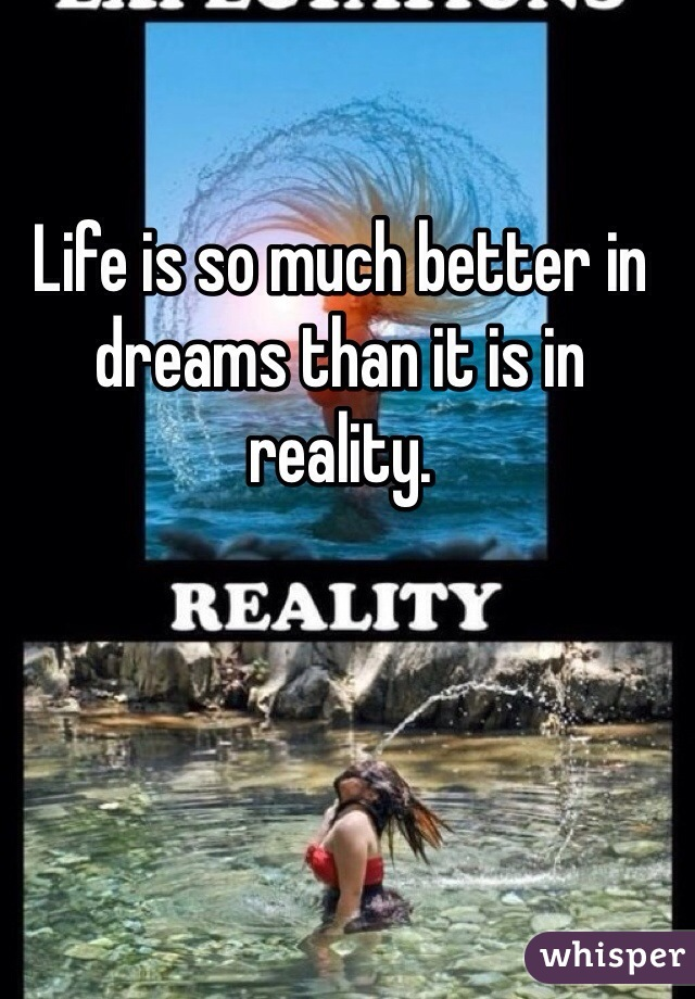 Life is so much better in dreams than it is in reality.