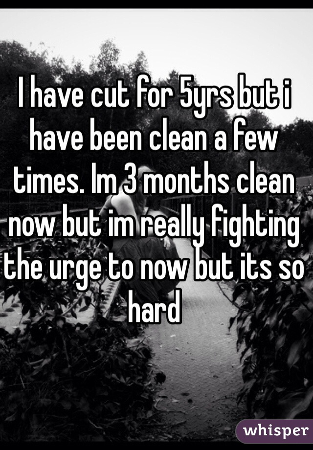 I have cut for 5yrs but i have been clean a few times. Im 3 months clean now but im really fighting the urge to now but its so hard