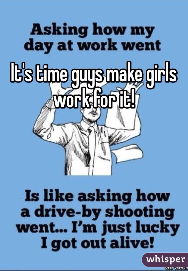 It's time guys make girls work for it!