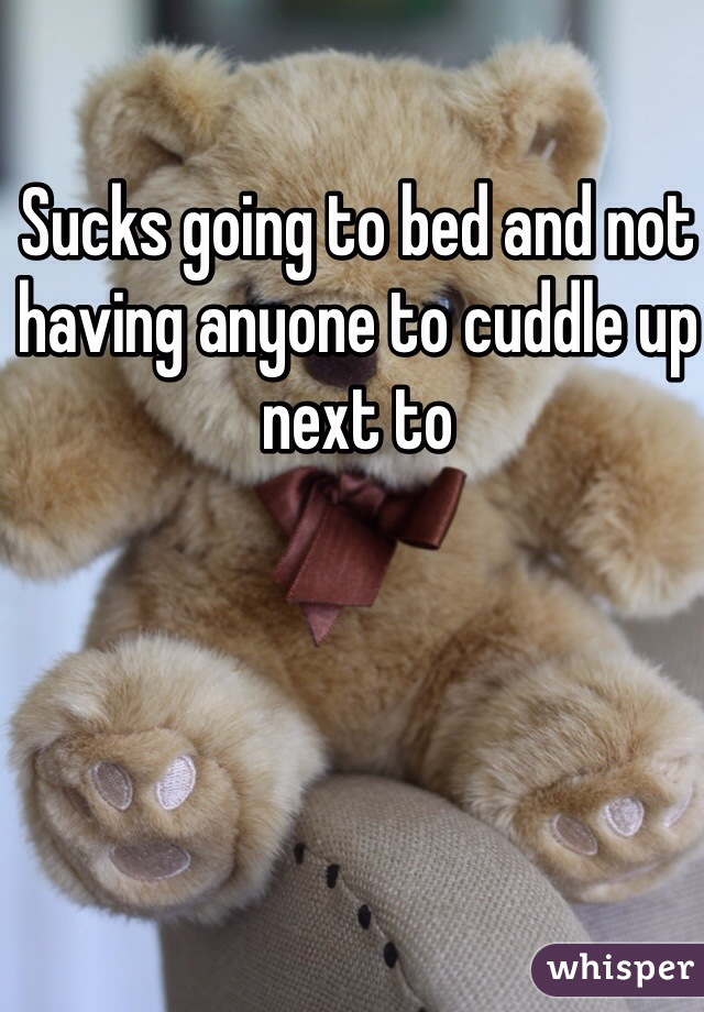 Sucks going to bed and not having anyone to cuddle up next to