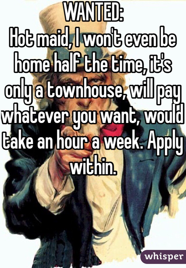 WANTED: Hot maid, I won't even be home half the time, it's only a townhouse, will pay whatever you want, would take an hour a week. Apply within.