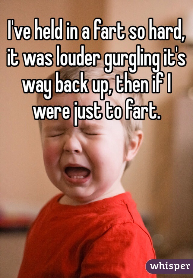I've held in a fart so hard, it was louder gurgling it's way back up, then if I were just to fart.