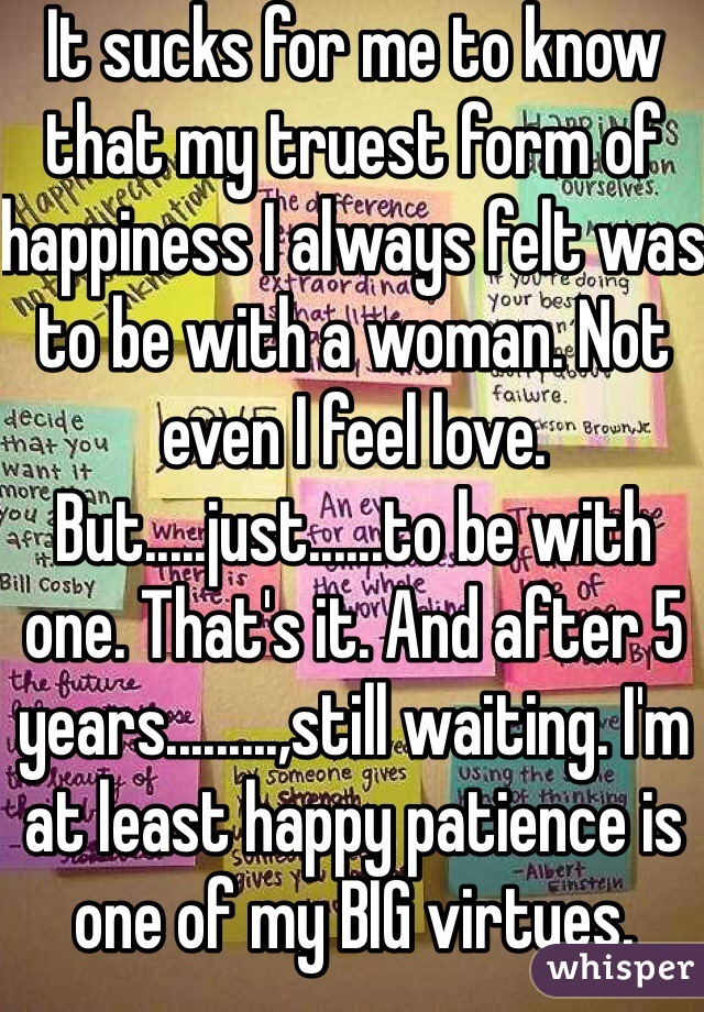 It sucks for me to know that my truest form of happiness I always felt was to be with a woman. Not even I feel love. But.....just......to be with one. That's it. And after 5 years.........,still waiting. I'm at least happy patience is one of my BIG virtues.
