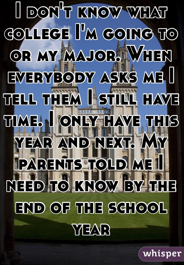 I don't know what college I'm going to or my major. When everybody asks me I tell them I still have time. I only have this year and next. My parents told me I need to know by the end of the school year