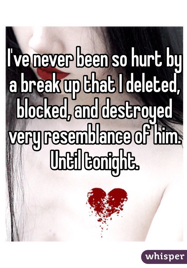 I've never been so hurt by a break up that I deleted, blocked, and destroyed very resemblance of him.  Until tonight.