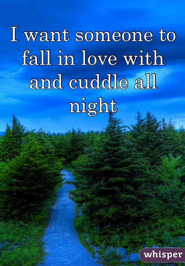 I want someone to fall in love with and cuddle all night