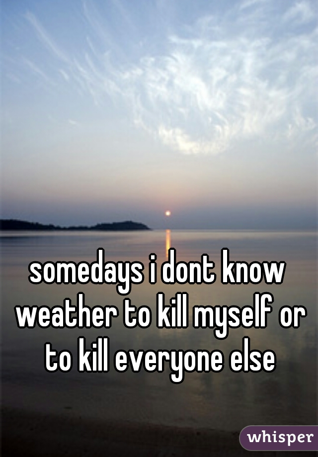 somedays i dont know weather to kill myself or to kill everyone else