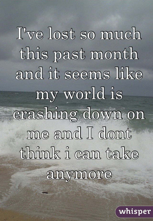 I've lost so much this past month and it seems like my world is crashing down on me and I dont think i can take anymore