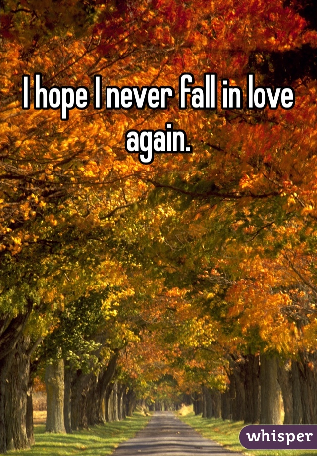 I hope I never fall in love again.