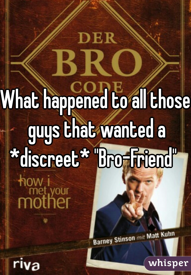 """What happened to all those guys that wanted a *discreet* """"Bro-Friend"""""""
