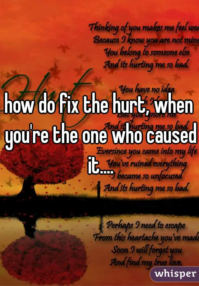 how do fix the hurt, when you're the one who caused it....