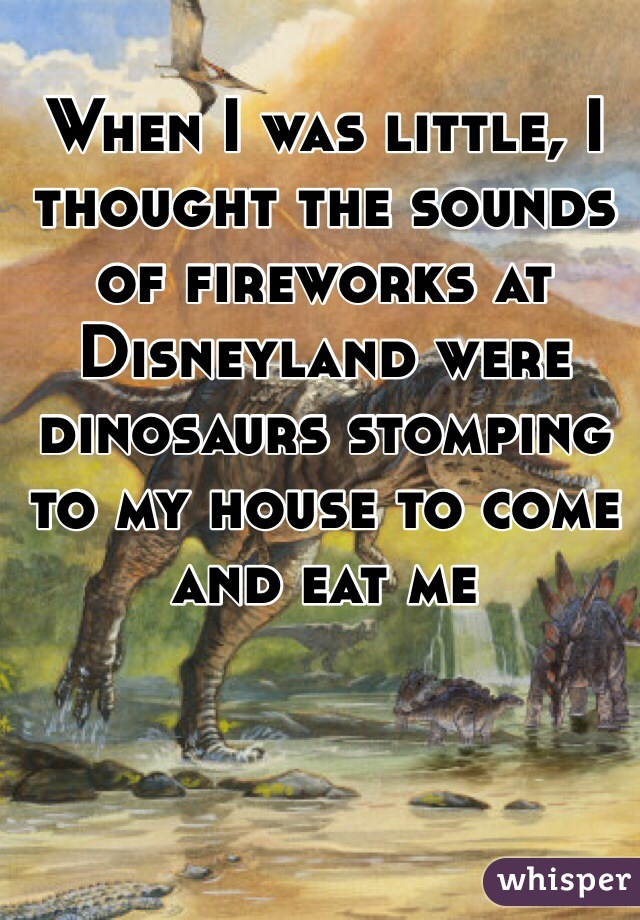 When I was little, I thought the sounds of fireworks at Disneyland were dinosaurs stomping to my house to come and eat me