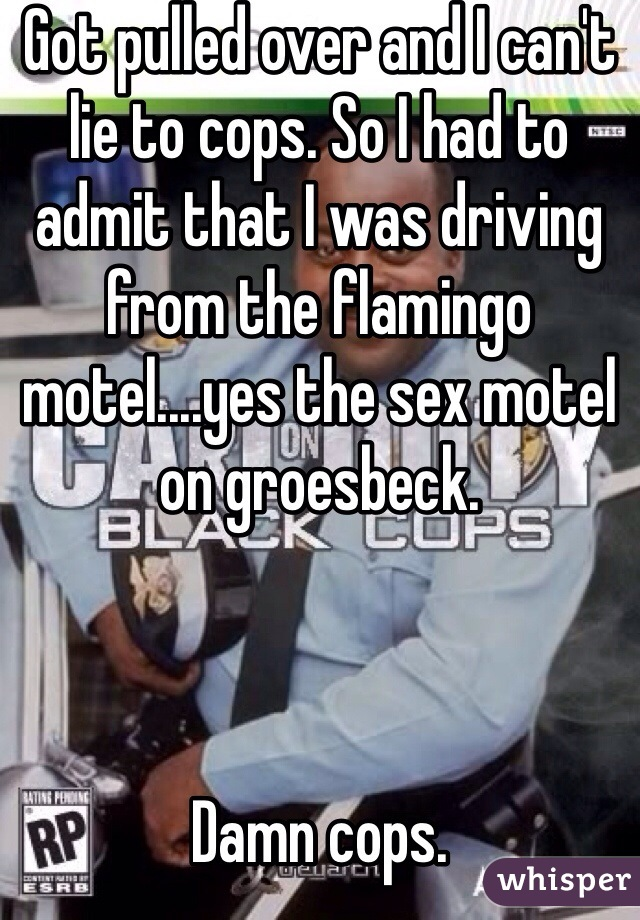 Got pulled over and I can't lie to cops. So I had to admit that I was driving from the flamingo motel....yes the sex motel on groesbeck.     Damn cops.