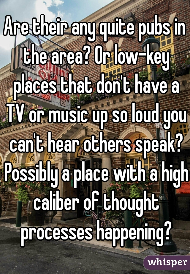 Are their any quite pubs in the area? Or low-key places that don't have a TV or music up so loud you can't hear others speak? Possibly a place with a high caliber of thought processes happening?