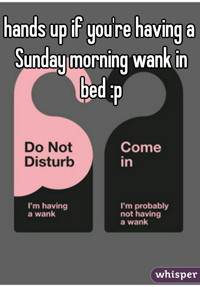hands up if you're having a Sunday morning wank in bed :p