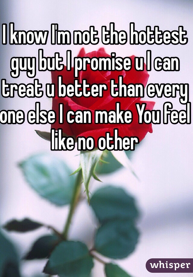I know I'm not the hottest guy but I promise u I can treat u better than every one else I can make You feel like no other