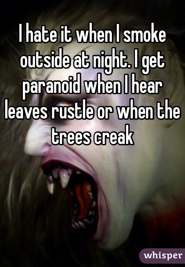 I hate it when I smoke outside at night. I get paranoid when I hear leaves rustle or when the trees creak