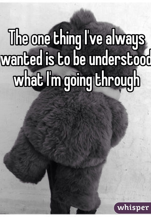 The one thing I've always wanted is to be understood what I'm going through