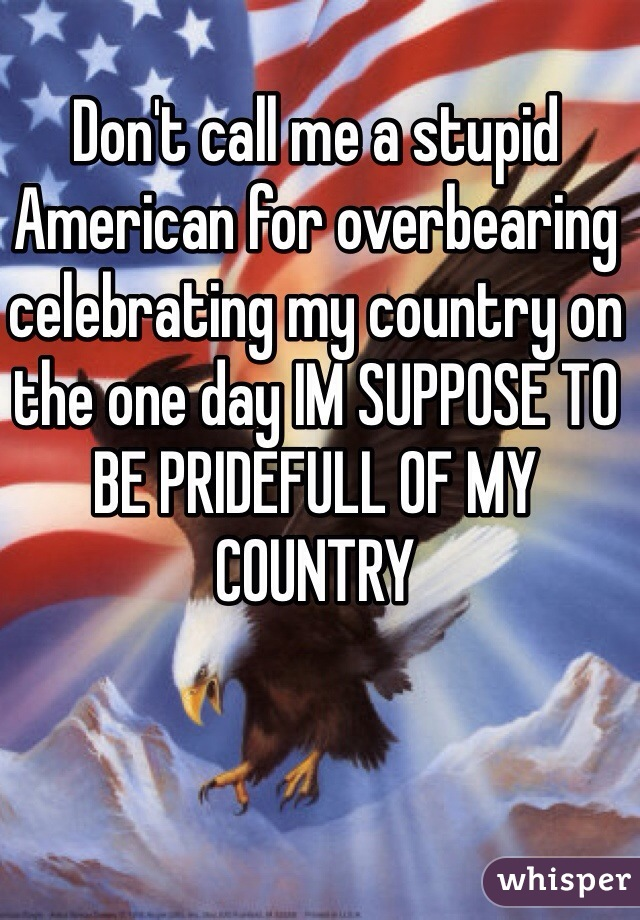 Don't call me a stupid American for overbearing celebrating my country on the one day IM SUPPOSE TO BE PRIDEFULL OF MY COUNTRY