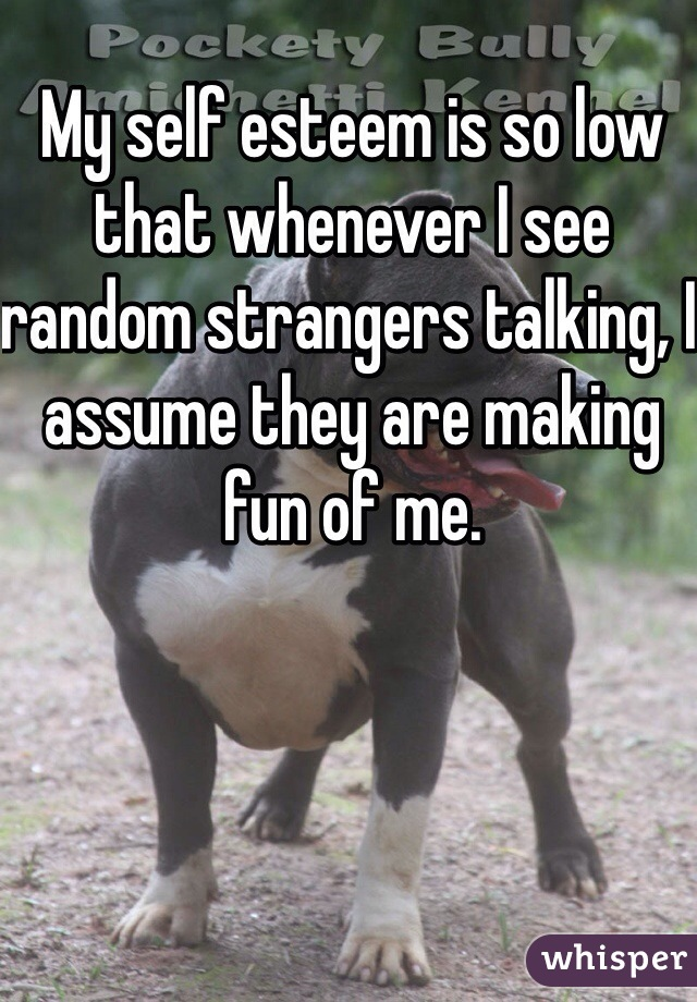 My self esteem is so low that whenever I see random strangers talking, I assume they are making fun of me.