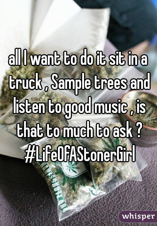 all I want to do it sit in a truck , Sample trees and listen to good music , is that to much to ask ? #LifeOfAStonerGirl
