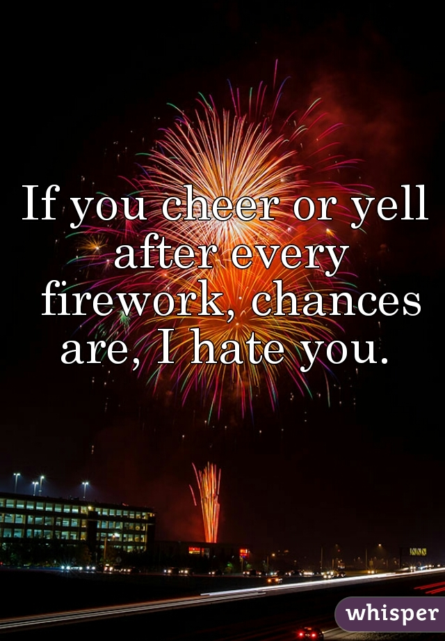 If you cheer or yell after every firework, chances are, I hate you.