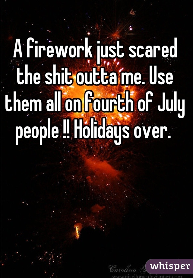 A firework just scared the shit outta me. Use them all on fourth of July people !! Holidays over.