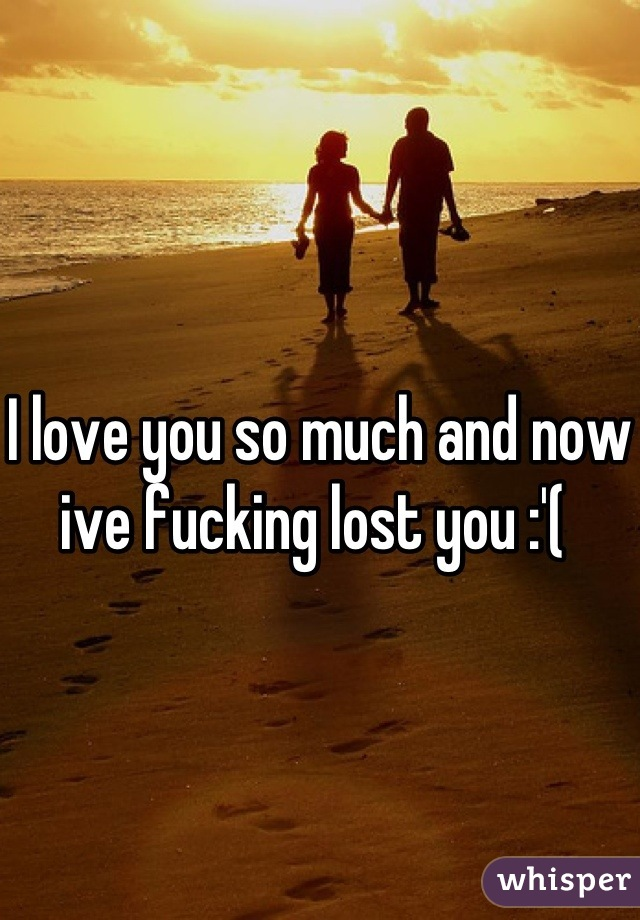 I love you so much and now ive fucking lost you :'(