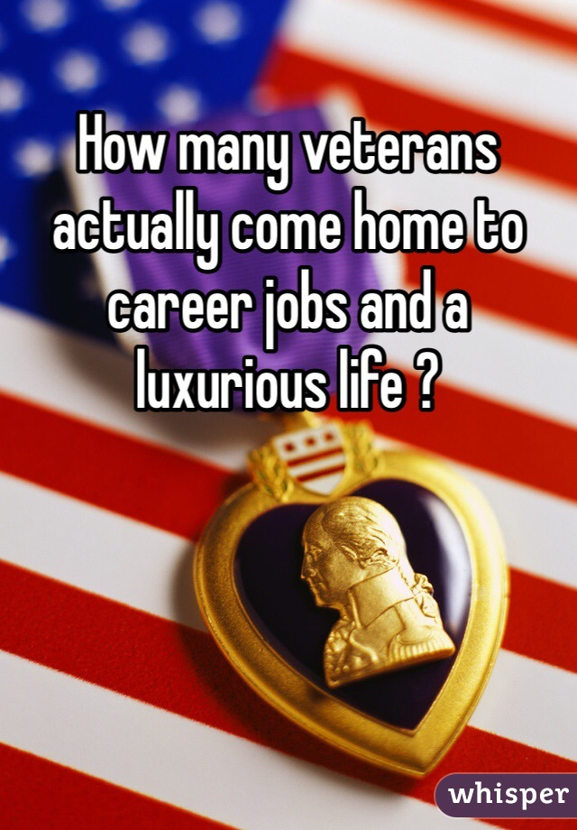 How many veterans actually come home to career jobs and a luxurious life ?