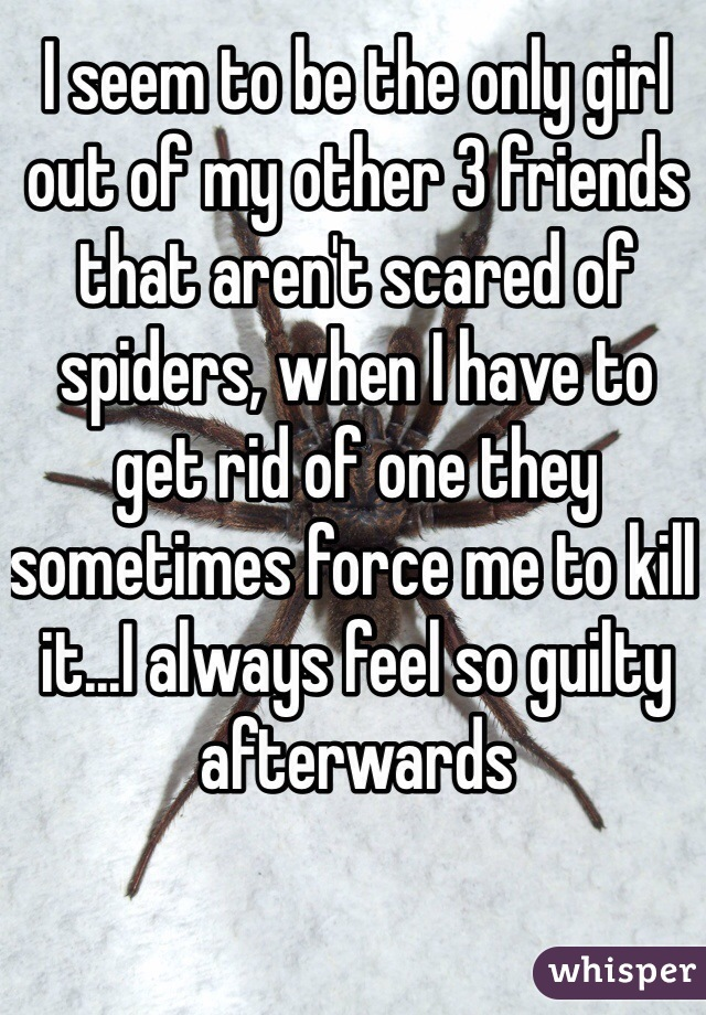 I seem to be the only girl out of my other 3 friends that aren't scared of spiders, when I have to get rid of one they sometimes force me to kill it...I always feel so guilty afterwards