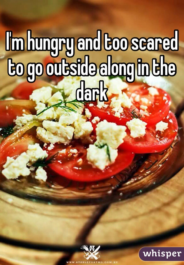 I'm hungry and too scared to go outside along in the dark